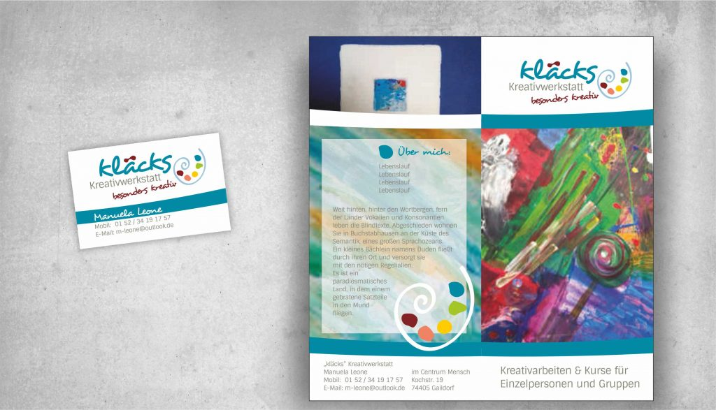 Logodesign kläcks Flyer Visitenkarte all2design Laura Friedrich