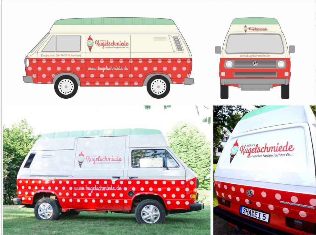 Portfolio Branding Design Kugelschmiede VW BUS Eisbus Beschriftung