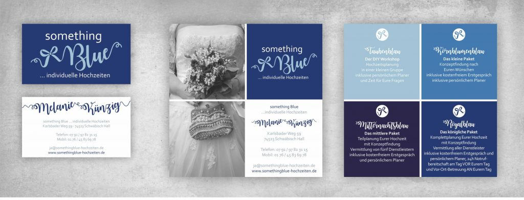 something Blue Hochzeitsplanung Flyer Visitenkarte all2design Laura Friedrich